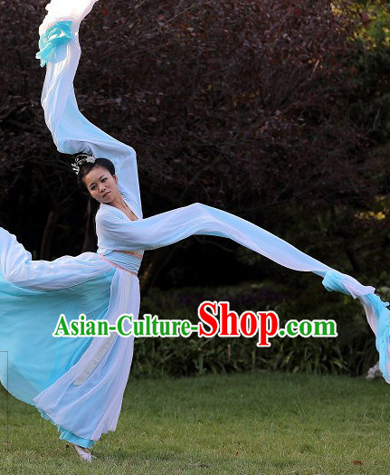 Long Water Sleeve Chinese Dance Costumes and Headwear Complete Set for Women