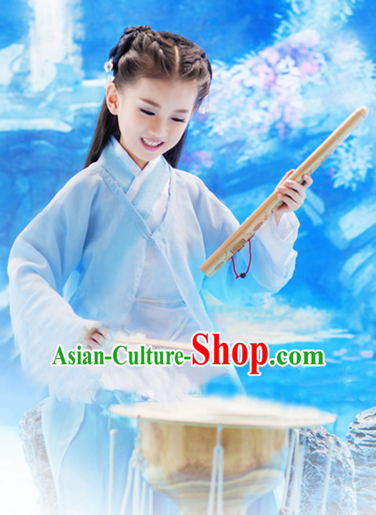 Traditional Chinese Fairy Clothing and Hair Jewelry Complete Set for Girls Kids
