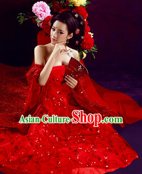Ancient Chinese Red Wedding Dress Complete Set for Women