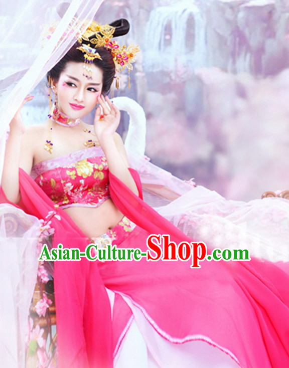 Chinese Classic Sexy Dance Costume and Hair Jewelry Complete Set for Women