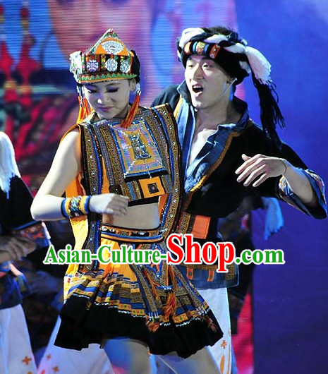 Chinese Traditional Ethnic Costume and Hair Piece Complete Set for Women