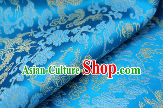 Chinese Traditional Blue Brocade Dragon Fabric