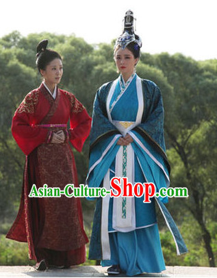 Ancient Chinese Empress Costume and Hair Jewelry Complete Set