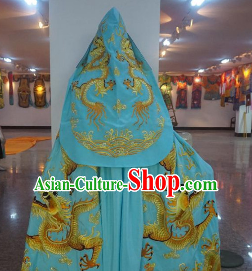 Traditional Chinese Embroidered Dragon Light Blue Mantle