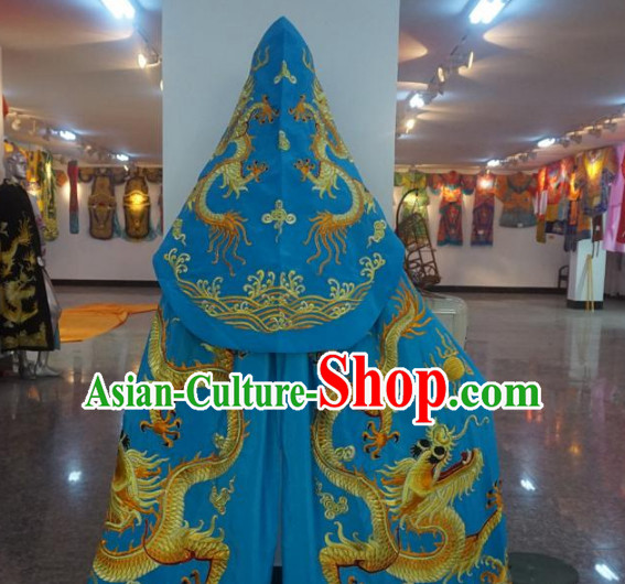 Traditional Chinese Embroidered Dragon Blue Mantle