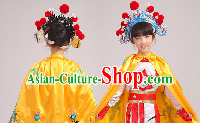Traditional Chinese Embroidered Dragon Yellow Mantle for Kids