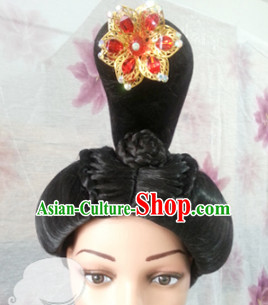 Chinese Tang Dynasty Princess Hairstyle Female Black Long Wigs