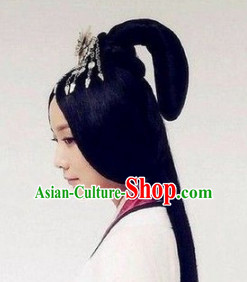 Chinese Ancient Imperial Empress Female Hairstyle Long Black Wigs