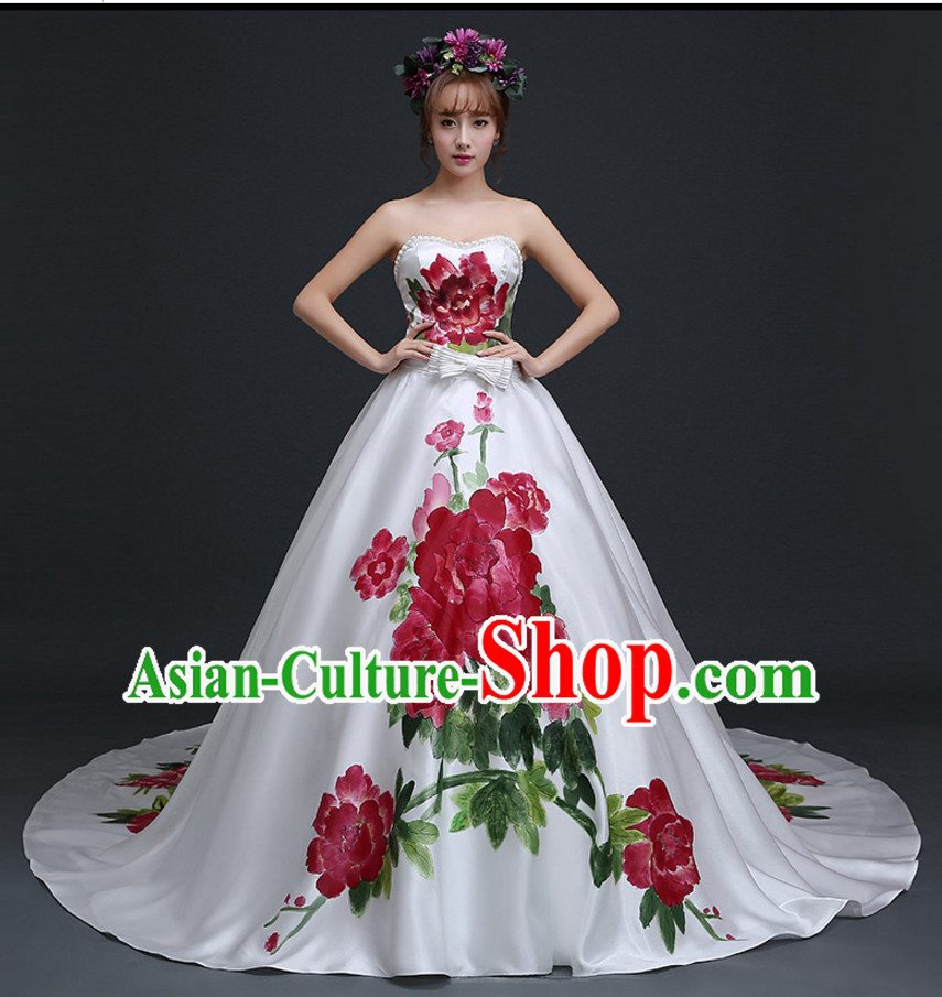 Top Chinese White Wedding Dress and Headwear Complete Set