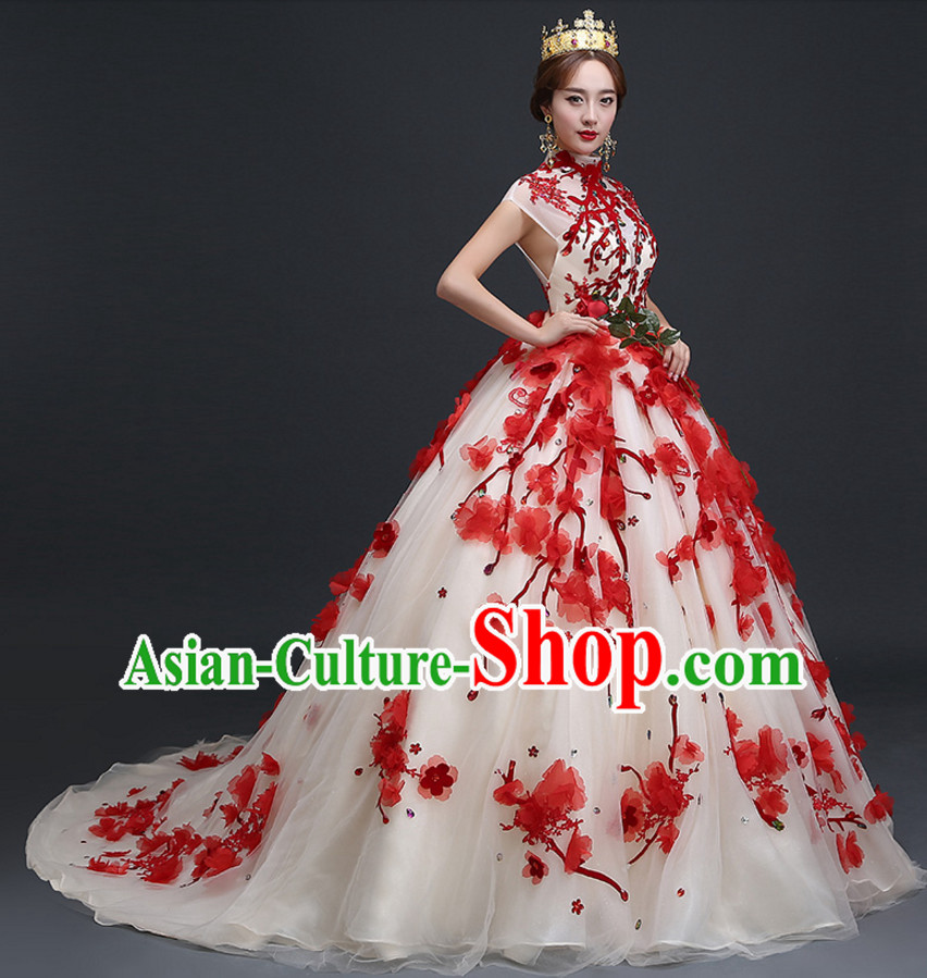 Top Chinese Floral Wedding Dress and Headwear Complete Set