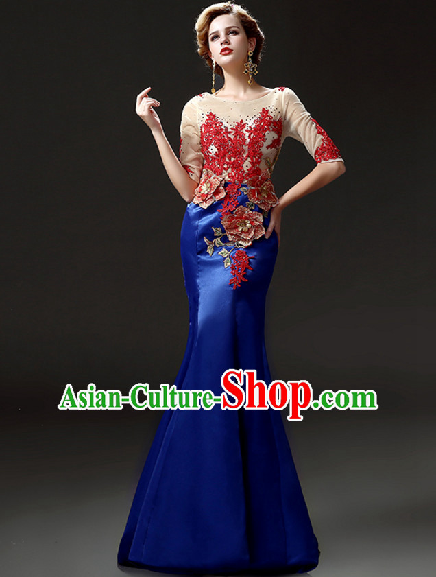 Top Chinese Classic Style Long Tail Evening Dress Complete Set