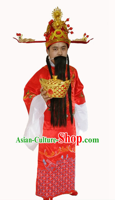 Top Chinese Cai Shen Money God Costume and Hat Complete Set for Men