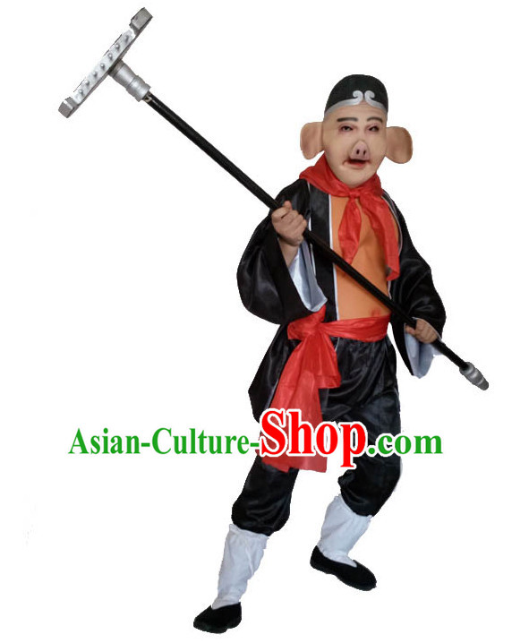 Top Chinese Journey to the West Pig Costume Zhu Ba Jie Costumes and Mask Complete Set for Men