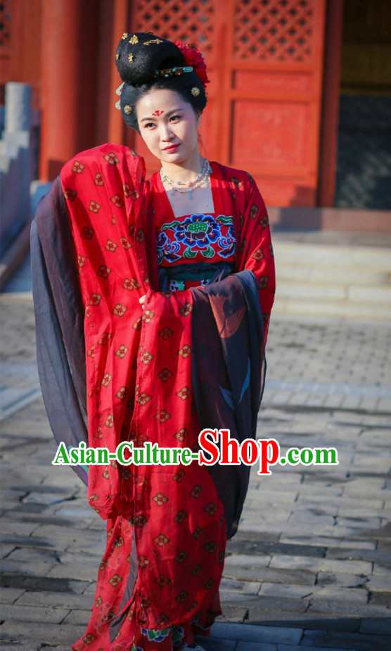Top Chinese Tang Dynasty Lady Costumes and Hair Jewelry Complete Set for Women