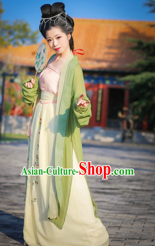 Top Chinese Song Dynasty Lady Costumes and Hair Jewelry Complete Set for Women