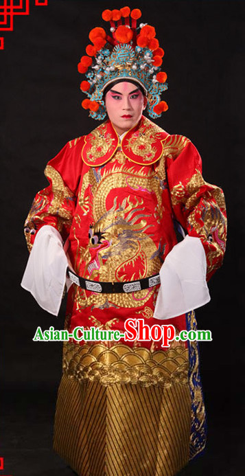 Ancient Chinese Embroidered Dragon Opera Clothing and Helmet Complete Set for Men