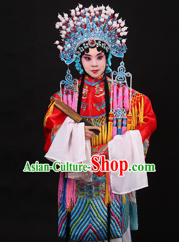Whtie Ancient Chinese Embroidered Phoenix Opera Clothing and Phoenix Crown Helmet Complete Set for Kids Girls