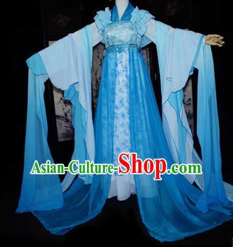 Ancient Chinese Blue Fairy Garment Complete Set for Women
