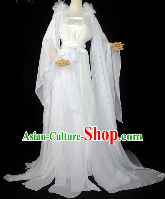 Ancient Chinese White Fairy Costume Complete Set for Women