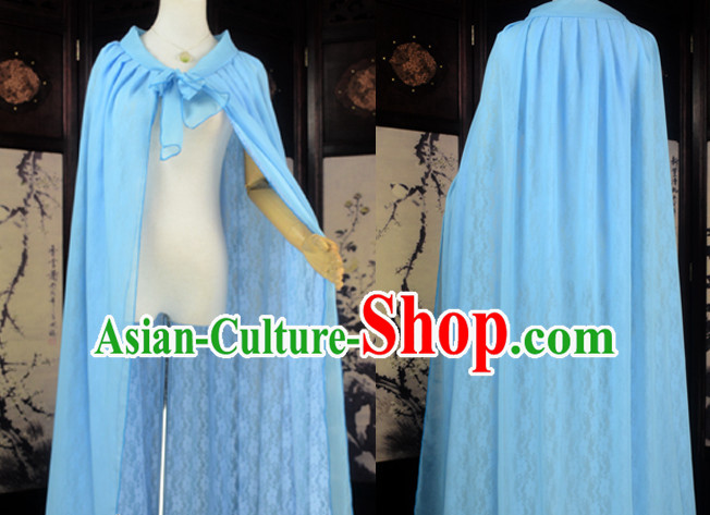 Blue Traditional Chinese Classical Mantle Cape