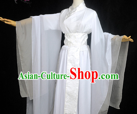 White Traditional Chinese Classical Hanfu Dresses Complete Set for Women or Girls