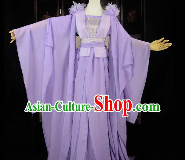 Purple Traditional Chinese Classical Fairy Costumes Complete Set for Women or Girls