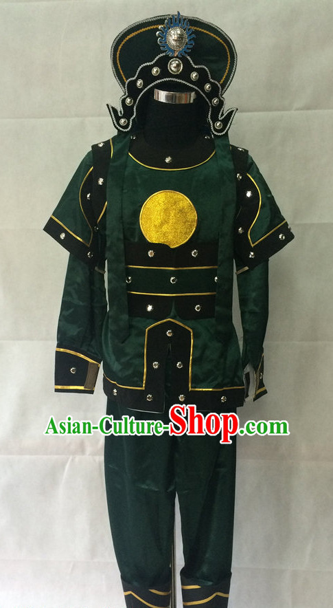 Ancient Chinese Opera Solider Costumes and Hat Complete Set for Men