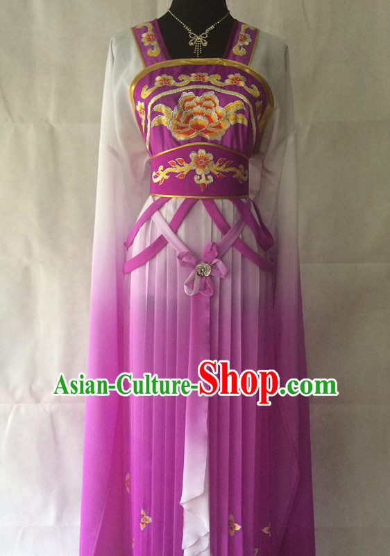 Ancient Chinese Opera Embroidered Flower Long Sleeves Costumes Complete Set for Women