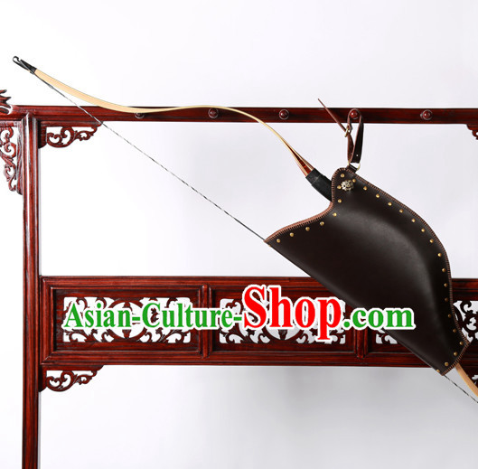 Chinese Traditinoal Handmade Leather Arrow Bags Hanfu Props Decorations