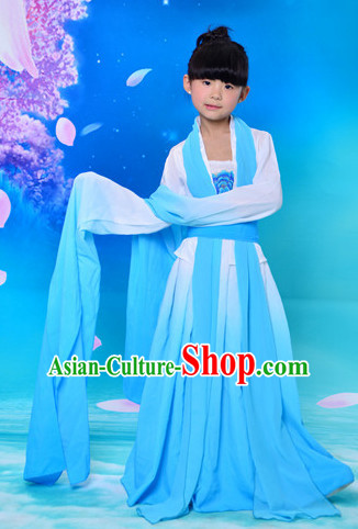Chinese Classical Long Sleeves Water Sleve Dance Costumes for Kids Children