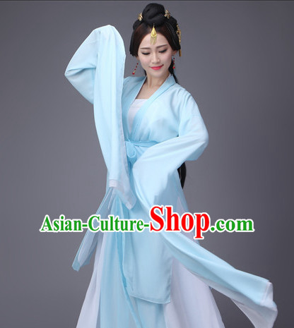 Light Blue Ancient Chinese Long Sleeves Dance Costumes Complete Set for Women
