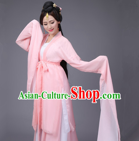 Pink Ancient Chinese Long Sleeves Dance Costumes Complete Set for Women
