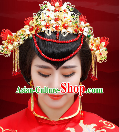 Traditional Chinese Princess Brides Wedding Headpieces Hair Jewelry Decorations Hairpins