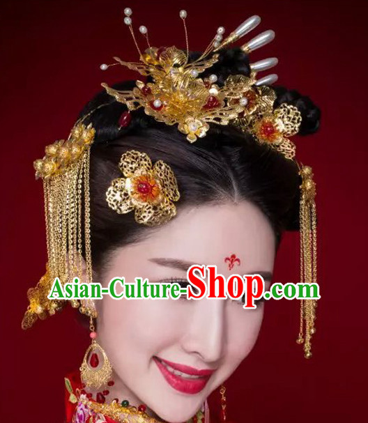 Traditional Chinese Princess Empress Queen Brides Wedding Headpieces Hair Fascinators Jewelry Decorations Hairpins Phoenix Crown
