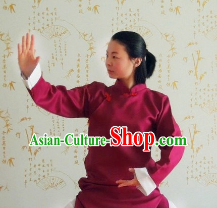 Chinese Kung Fu Long Robe Costume Complete Set for Adults Kids Women men Girls Boys