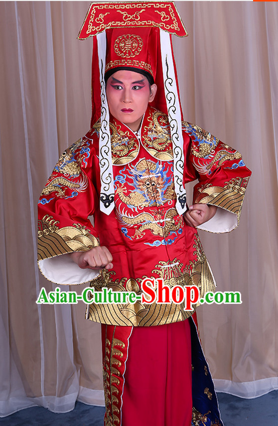 Embroidered Chinese Classic Peking Opera Wang Chao Ma Han Zhang Hu Costume Beijing Opera Military Character Costumes Complete Set for Adults Kids Men Boys