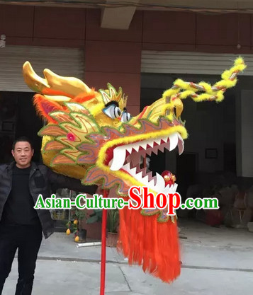 Yellow Chinese Spring Festival Big Display or Play Handmade Dragon Head