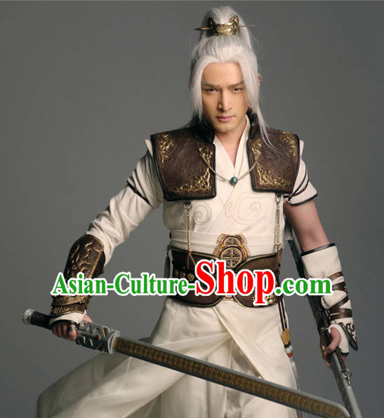 Ancient Chinese Hero Armor Costumes Swordsman Hanfu Clothing Complete Set for Men and Teenagers