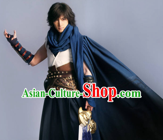 Ancient Chinese Hero Armor Costumes Swordsman Hanfu Clothes Complete Set for Men and Teenagers