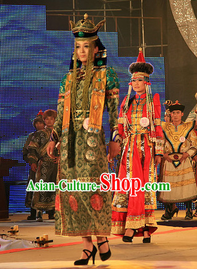 Mongolian Royal Empress Clothing and Hat Complete Set for Women