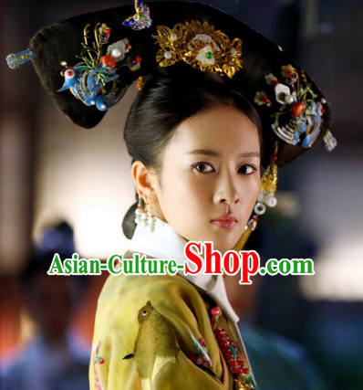 Qing Dynasty Manchu Empress Black Wigs and Head Wear Headpieces Hair Jewelry
