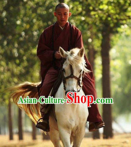 Chinese Ancient Monk Robe Clothes Complete Set for Men