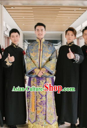Chinese Classical Embroidered Dragon Wedding Dresses Clothing Complete Set for Brides