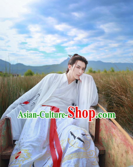 Chinese Ancient Han Dynasty Embroidered Crane Hanfu Clothing
