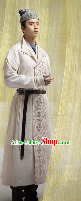 Chinese Ancient Tang Dynasty Hanfu Clothing Complete Set for Men