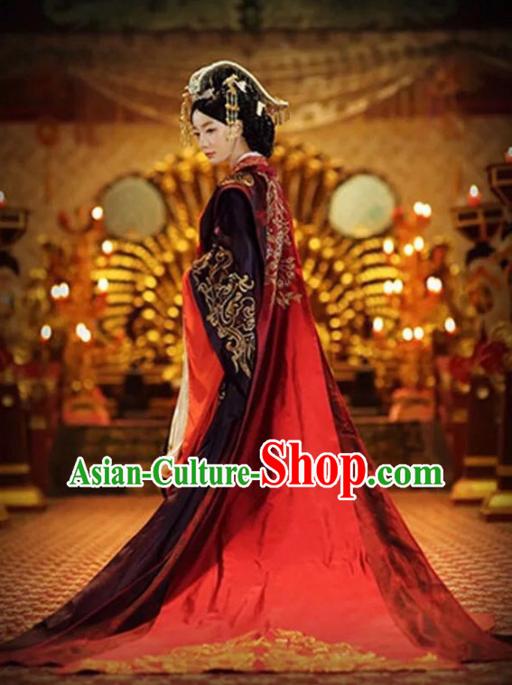 Chinese Ancient Han Dynasty Empress Imperial Royal Clothing with Long Trail