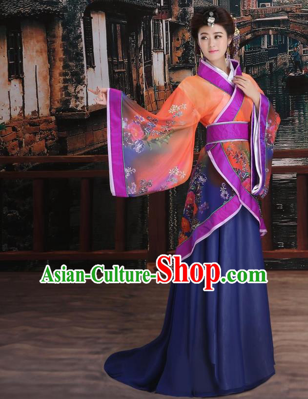 Ancient Chinese Palace Empress Costumes Complete Set, Han Dynasty Ancient Palace Princess Hanfu Dress Suits For Women