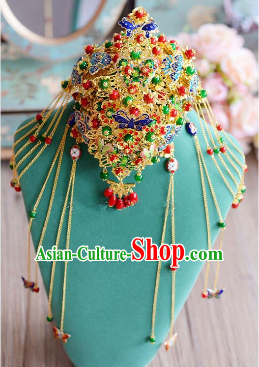 Chinese Ancient Style Hair Jewelry Accessories, Hairpins, Hanfu Xiuhe Suits Wedding Bride Headwear, Traditional China Cloisonn Headdress, Imperial Empress Handmade Phoenix Hair Fascinators for Women