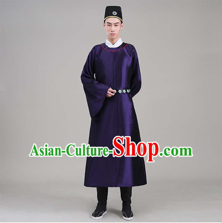 Tang Dynasty robes Traditional Regular Robe Tang Suit Cotton and linen Round Collar Round Neck attach collar Costume stage clothes Show Purple