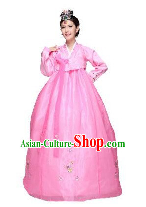 Korean Traditional Costumes Bride Dress Wedding Clothes Korean Full Dress Formal Attire Ceremonial Dress Court Stage Dancing Pink